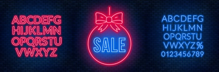 Sale neon sign and fonts on a dark background. Template discounts and offers. Vector illustration. Illusztráció