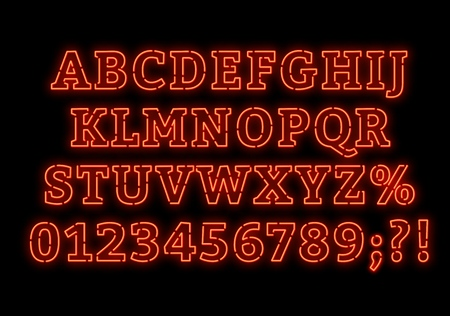 Neon alphabet. Bright capital letters with numbers on a dark background. Vector illustration.