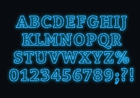 Neon blue font. Bright capital letters with numbers on a dark background. Vector illustration. Illusztráció