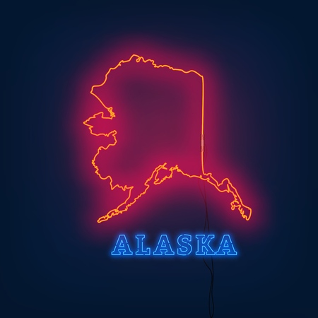 Neon map State of Alaska on dark background. Vector Illustration.
