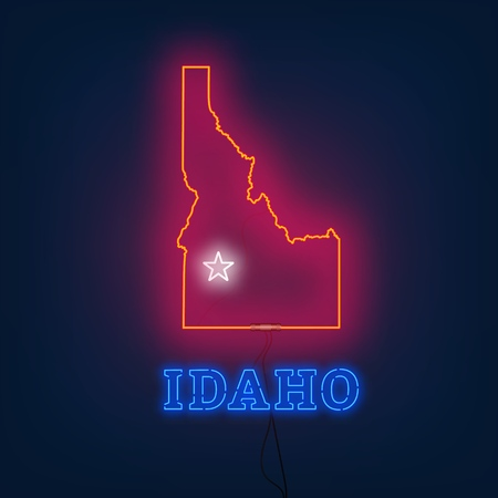 Neon map State of Idaho on dark background. Vector Illustration.  イラスト・ベクター素材