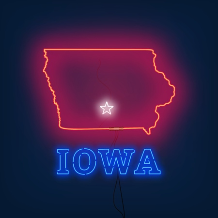 Neon map State of Iowa on dark background. Vector Illustration. Illusztráció