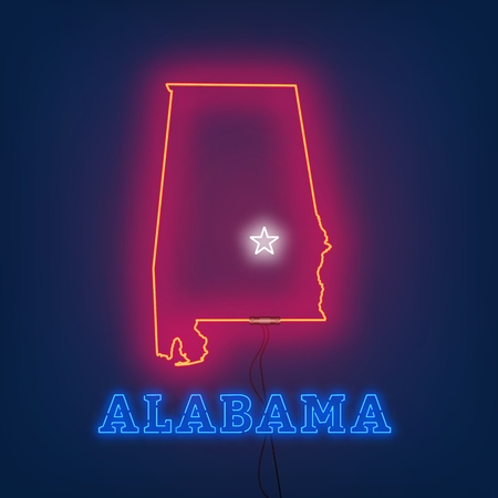 Neon map State of Alabama on dark background. Vector Illustration.