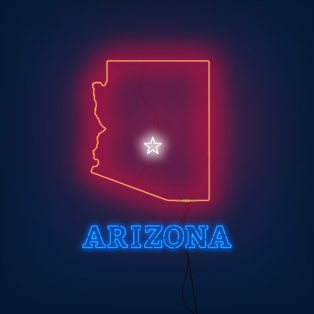 Neon map State of Arizona on dark background. Vector Illustration. Illusztráció
