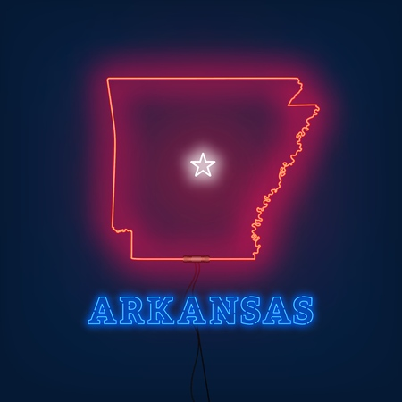 Neon map State of Arkansas on dark background. Vector Illustration. Illusztráció
