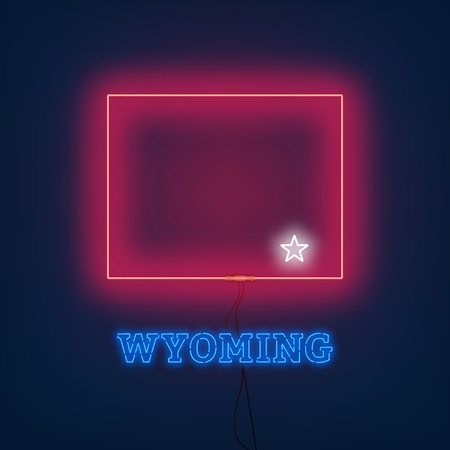 Neon map State of Wyoming on dark background. Vector Illustration.