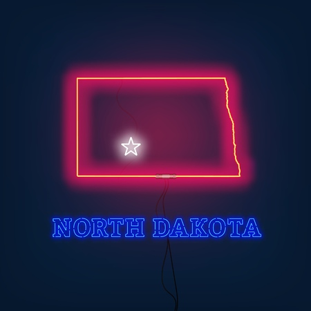 Neon map State of North Dakota on dark background. Vector Illustration.