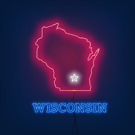 Neon map State of Wisconsin on dark background. Vector Illustration.