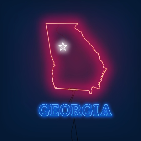 Neon map State of Georgia on dark background. Vector Illustration.