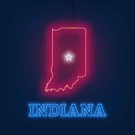 Neon map State of Indiana on dark background. Vector Illustration.