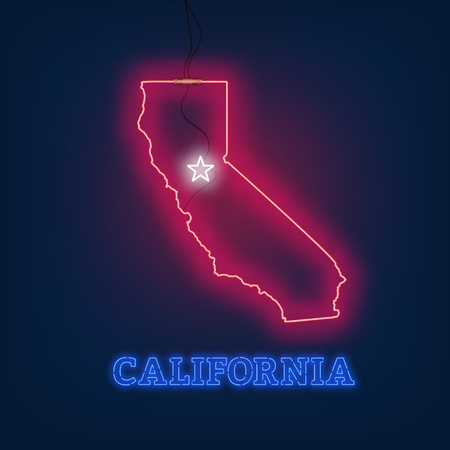 Neon map State of California on dark background. Vector Illustration.