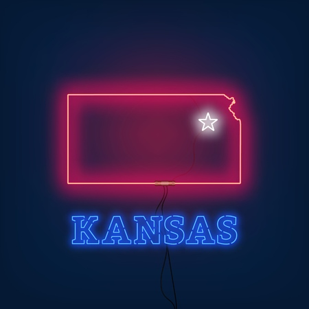 Neon map State of Kansas on dark background. Vector Illustration.