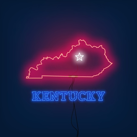 Neon map State of Kentucky on dark background. Vector Illustration.