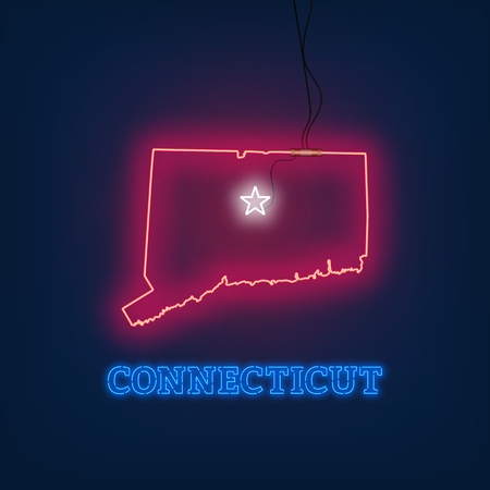 Neon map State of Connecticut on dark background. Vector Illustration.