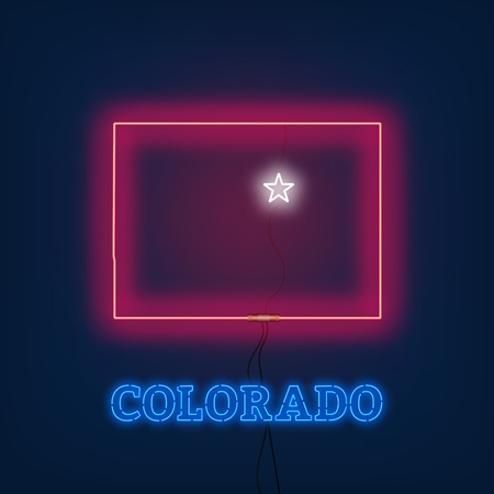 Neon map State of Colorado on dark background. Vector Illustration.