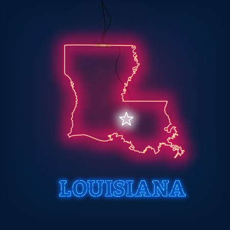 Neon map State of Louisiana on dark background. Vector Illustration.