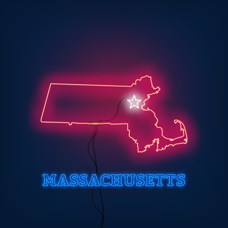 Neon map State of Massachusetts on dark background. Vector Illustration.