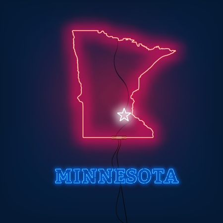Neon map State of Minnesota on dark background. Vector Illustration.