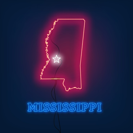 Neon map State of Mississippi on dark background. Vector Illustration. Illusztráció