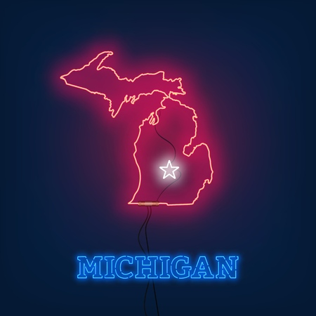 Neon map State of Michigan on dark background. Vector Illustration.