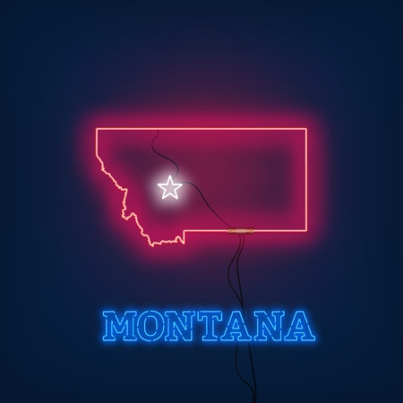 Neon map State of Montana on dark background. Vector Illustration.