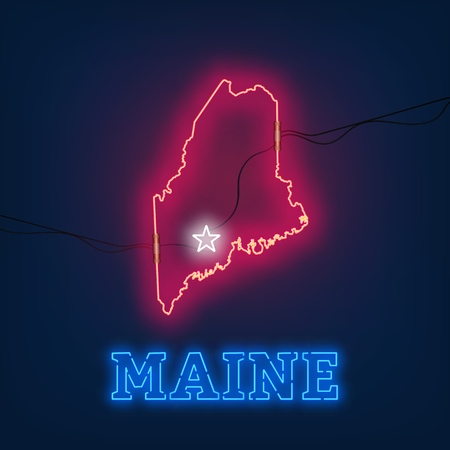 Neon map State of Maine on dark background. Vector Illustration.