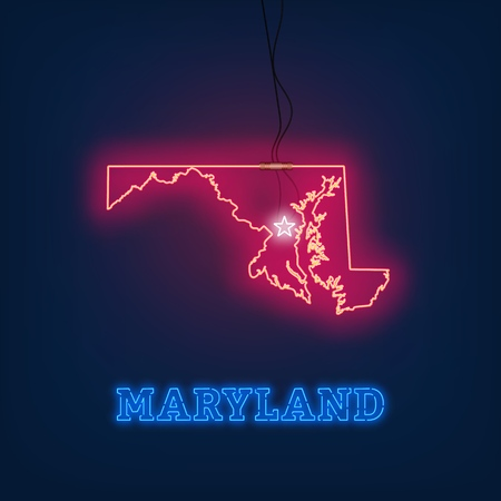 Neon map State of Maryland on dark background. Vector Illustration.