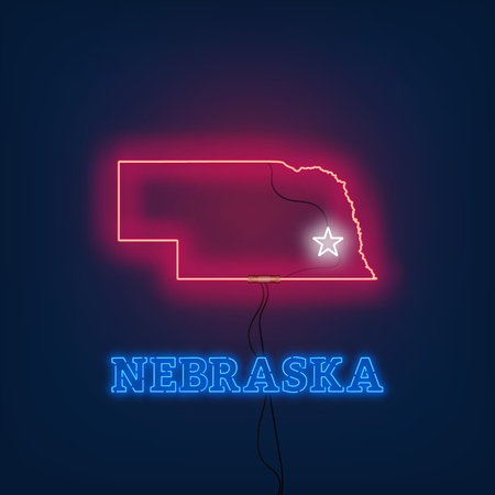 Neon map State of Nebraska on dark background. Vector Illustration.