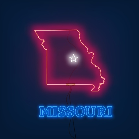 Neon map State of Missouri on dark background. Vector Illustration.