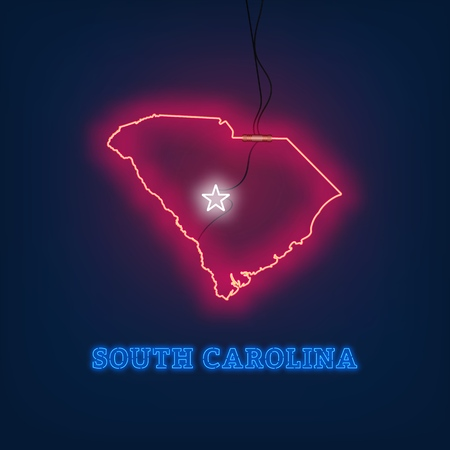 Neon map State of South Carolina on dark background. Vector Illustration.