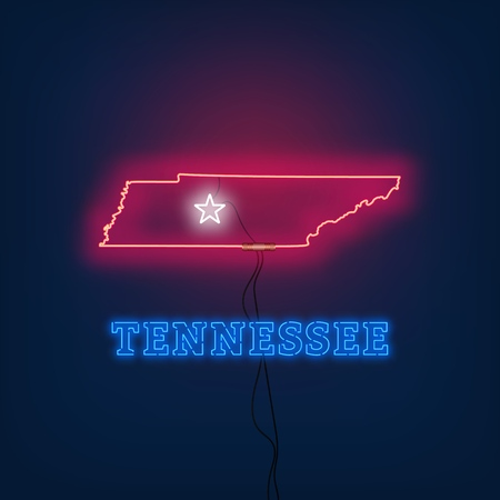 Neon map State of Tennessee on dark background. Vector Illustration. Illusztráció