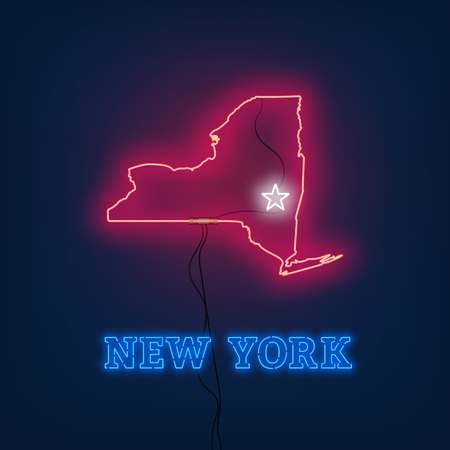 Neon map State of New York on dark background. Vector Illustration.