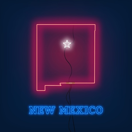 Neon map State of New Mexico on dark background. Vector Illustration.