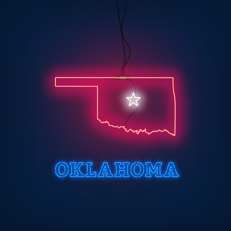 Neon map State of Oklahoma on dark background. Vector Illustration.