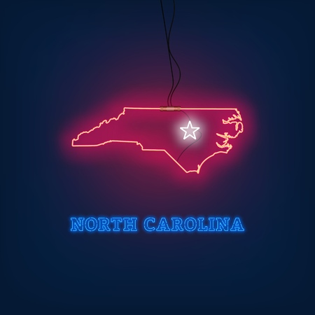 Neon map State of North Carolina on dark background. Vector Illustration. Illusztráció