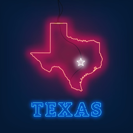 Neon map State of Texas on dark background. Vector Illustration. Illusztráció