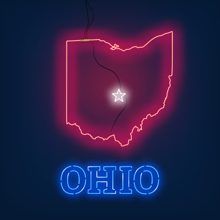 Neon map State of Ohio on dark background. Vector Illustration. Illusztráció