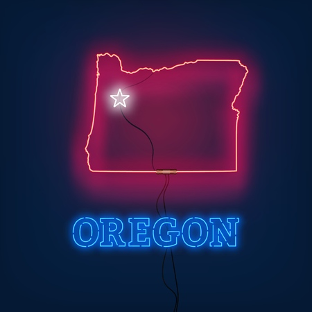 Neon map State of Oregon on dark background. Vector Illustration.