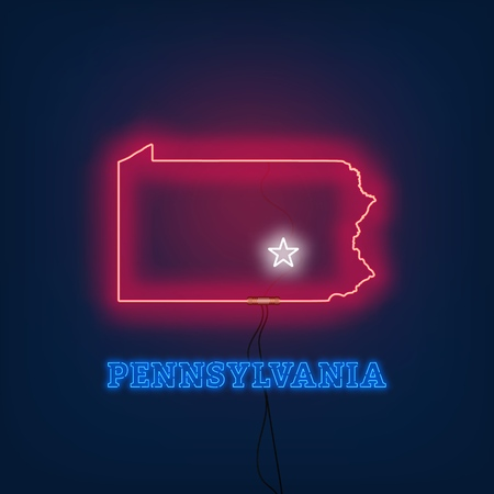 Neon map State of Pennsylvania on dark background. Vector Illustration.