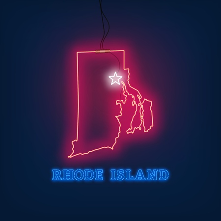 Neon map State of Rhode Island on dark background. Vector Illustration.