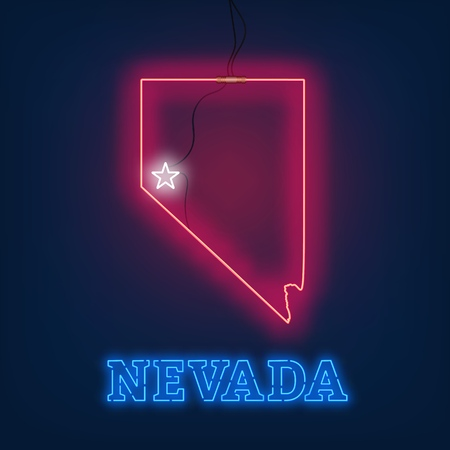 Neon map State of Nevada on dark background. Vector Illustration. Illusztráció