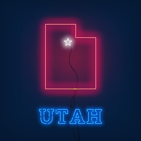 Neon map State of Utah on dark background. Vector Illustration.