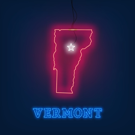 Neon map State of Vermont on dark background. Vector Illustration. Illusztráció