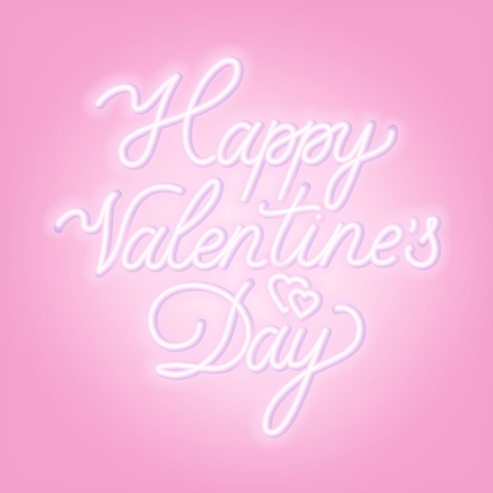 Happy Valentines day neon lettering on light background. Greeting card. Vector illustration.