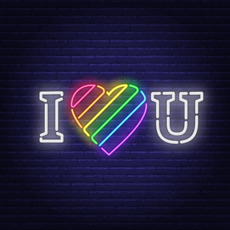 I love you neon lettering. The heart is painted in the colors of the LGBT community. Declaration of love. Vector illustration.