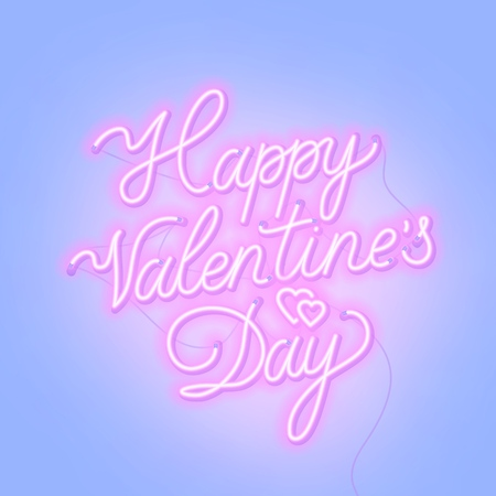 Happy Valentine s day neon lettering on blue background. Greeting card. Vector illustration.