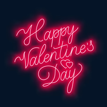 Happy Valentine s day neon lettering on dark background. Greeting card. Vector illustration.
