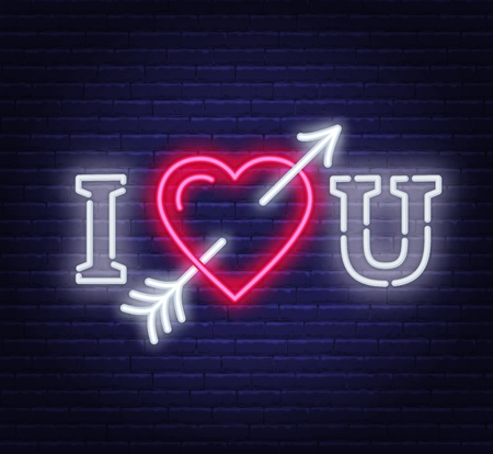 I love you neon. Heart with arrow sign. Vector illustration on dark background.