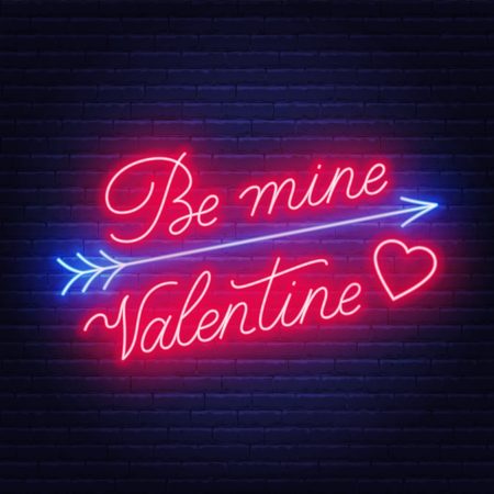 Be mine Valentine neon lettering dark background. .Greeting card. Vector illustration. Illusztráció