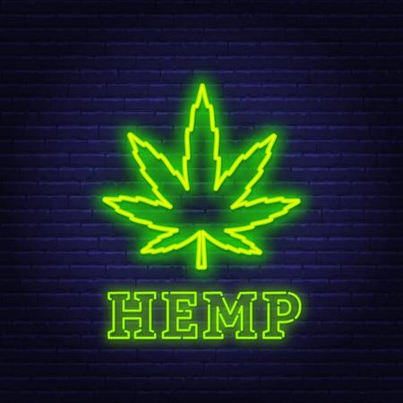 Letrero de neón de cáñamo. Cannabis, símbolo de la marihuana sobre fondo oscuro.